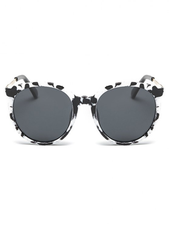 Cow Pattern Cat Eye Sunglasses - WHITE AND BLACK  Mobile