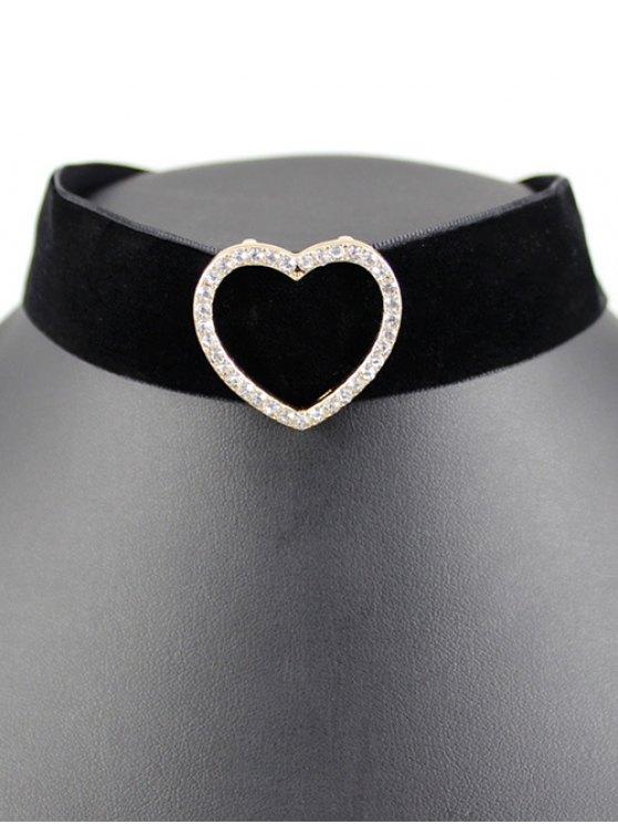 Heart Velvet Wide Choker - BLACK  Mobile