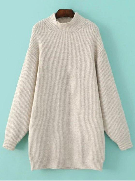 Funnel Neck Oversized Sweater Dress - OFF-WHITE S Mobile