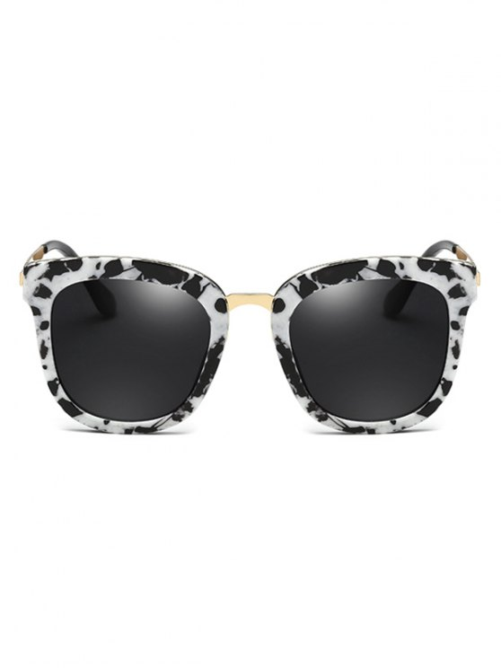 Cow Pattern Butterfly Frame Oversized Sunglasses - WHITE AND BLACK  Mobile