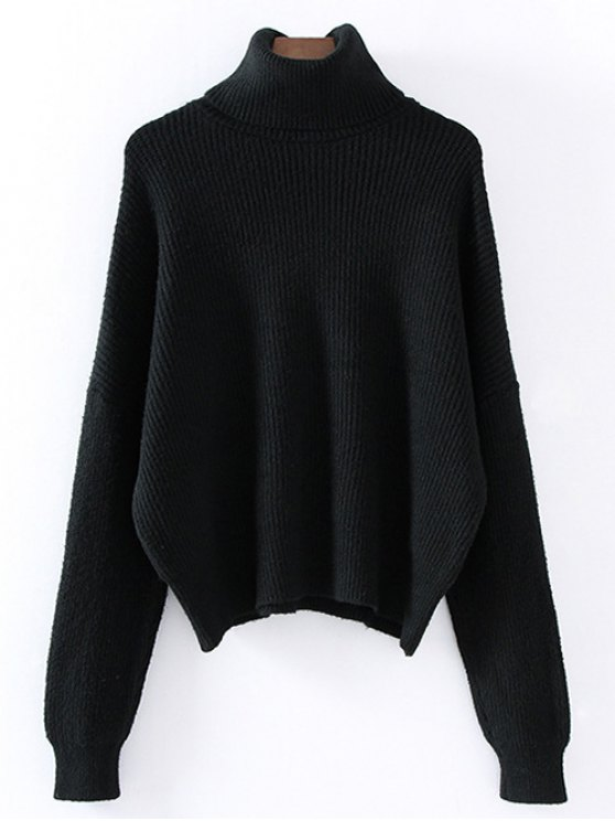 Turtleneck Relaxed Jumper - BLACK ONE SIZE Mobile