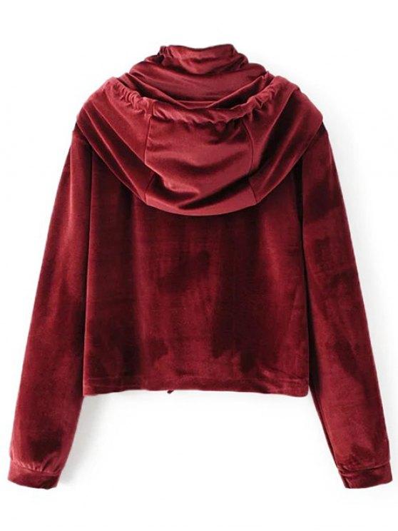 Flap Pockets Drawstring Velvet Hoodie - BURGUNDY S Mobile