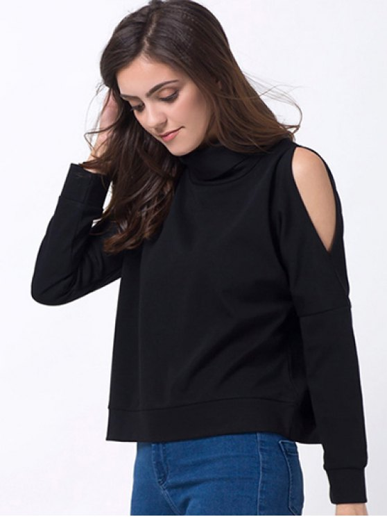 Turtle Neck Cold Shoulder Sweatshirt - BLACK 2XL Mobile