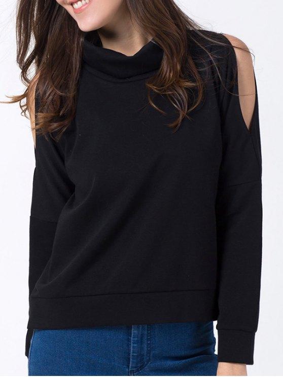 Turtle Neck Cold Shoulder Sweatshirt - BLACK L Mobile