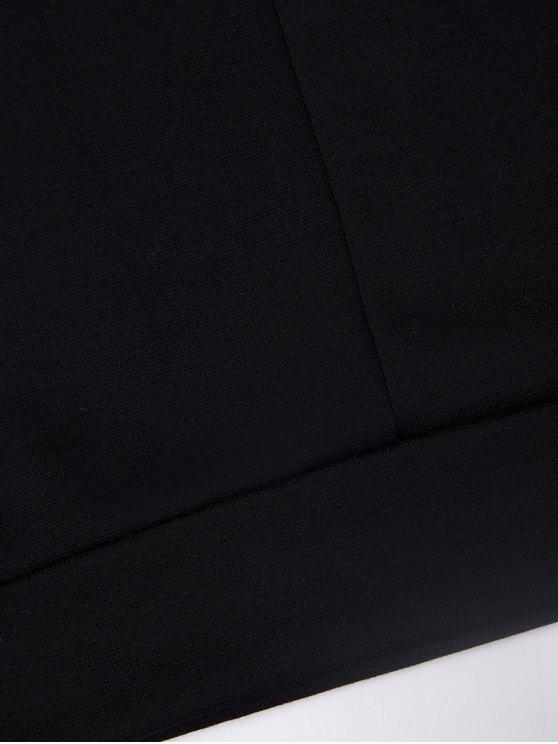 Turtle Neck Cold Shoulder Sweatshirt - BLACK 2XL Mobile