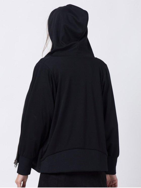 Batwing Sleeve Zip Up Hoodie - BLACK XL Mobile