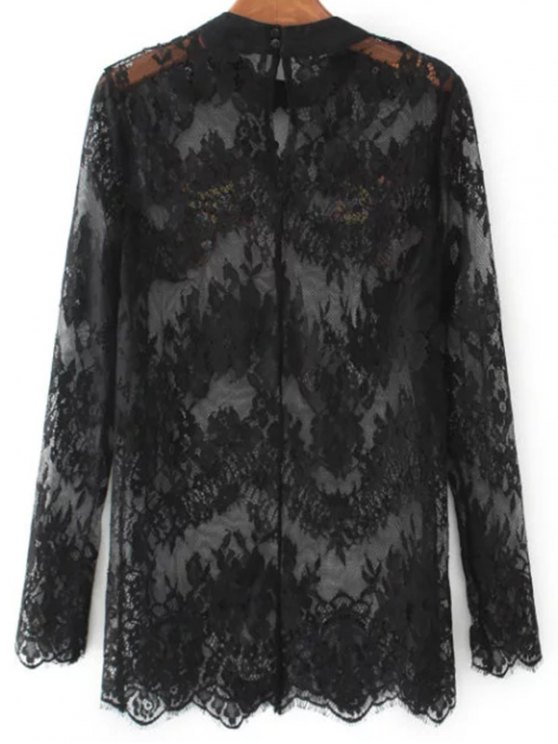 Birds Embroidered Lace Top - BLACK M Mobile