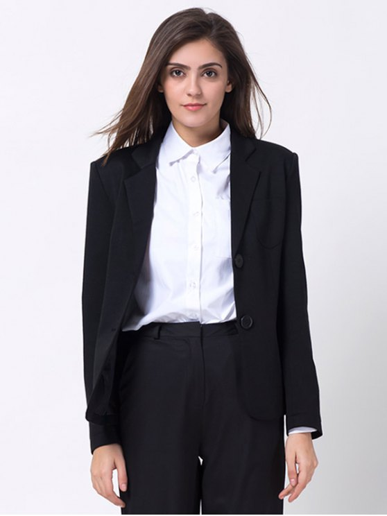 Back Slit Lapel Collar Blazer - BLACK XL Mobile