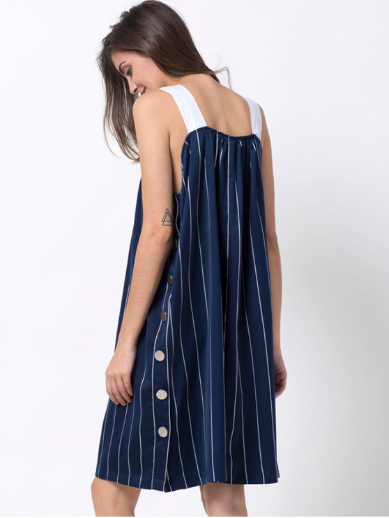 Striped Single-Breasted Tank Dress - BLUE M Mobile