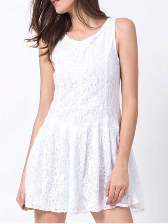 Sleeveless Lace Mini Dress - WHITE S Mobile