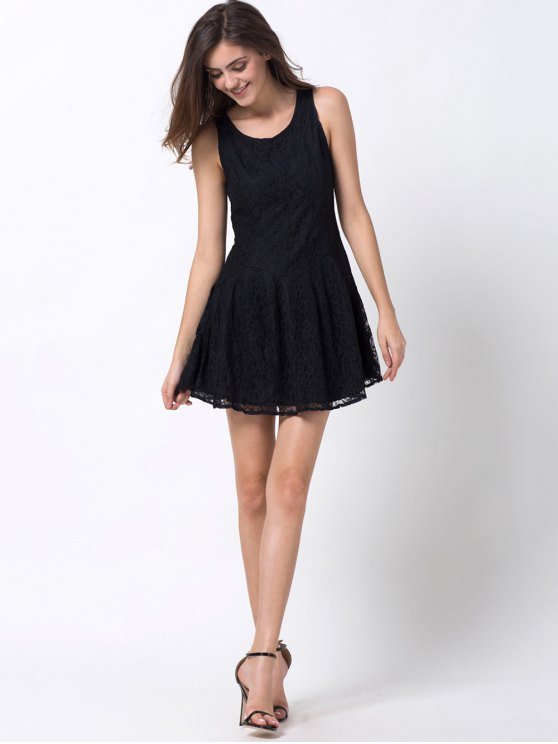 Sleeveless Lace Mini Dress - BLACK 2XL Mobile