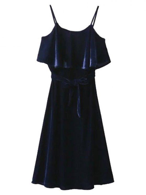 Slip Belted Ruffle Velvet Swing Dress - PURPLISH BLUE S Mobile