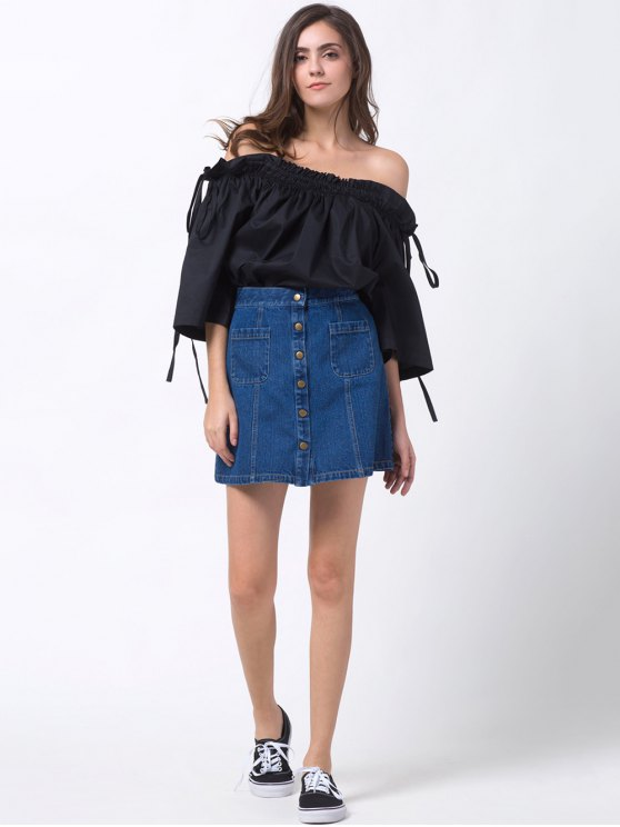 Ruffles Off Shoulder Blouse - BLACK L Mobile