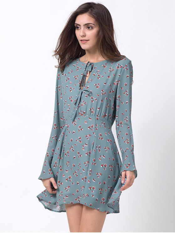 Tiny Floral Flare Sleeve Chiffon Dress - ICE BLUE XS Mobile