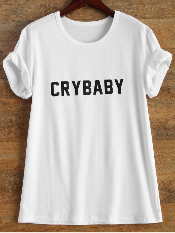 Short Sleeve Crybaby Graphic Tee - WHITE L Mobile