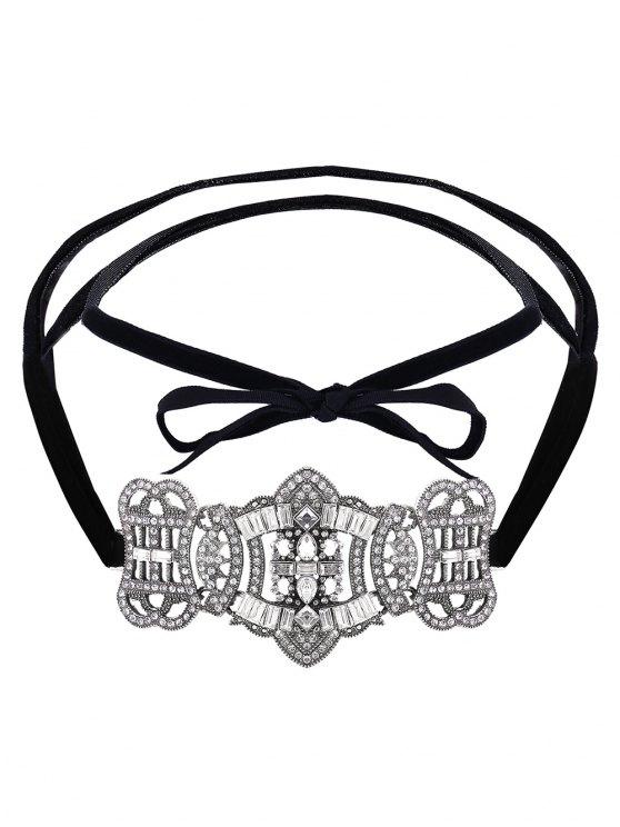 Layered Velvet Bowknot Choker - SILVER  Mobile