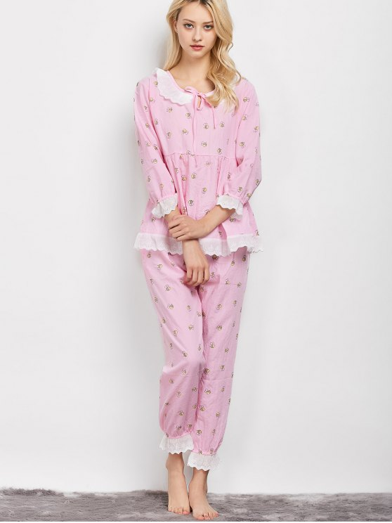 Printed Smock Top and Pants Pajama - PINK XL Mobile