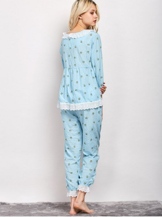 Printed Smock Top and Pants Pajama - LIGHT BLUE L Mobile