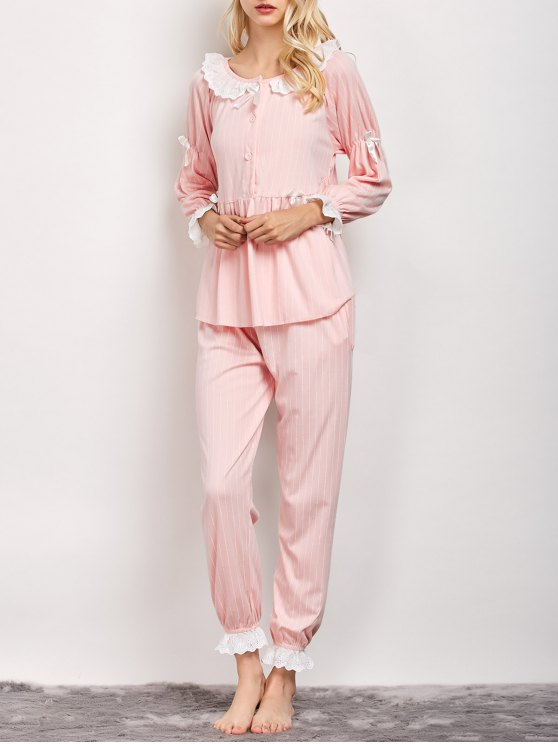 women Striped Smock Top and Pants Pajama - PINK L
