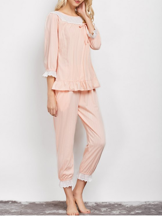 online Lacework Smock Top and Pants Pajama - APRICOT XL