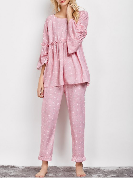 hot Letter Ruffles Smock Top and Pants Pajama - PINK XL