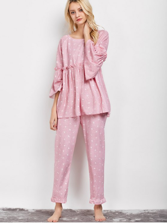 Letter Ruffles Smock Top and Pants Pajama - PINK XL Mobile