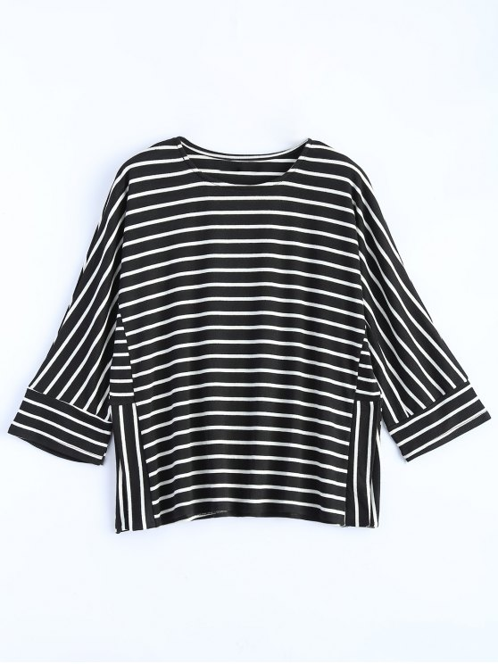 Oversized Side Slit Striped T-Shirt - BLACK S Mobile