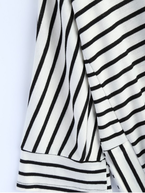 Oversized Side Slit Striped T-Shirt - WHITE M Mobile