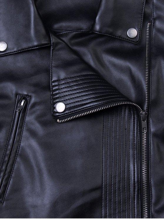 Lapel Zipper Biker Jacket - BLACK XL Mobile
