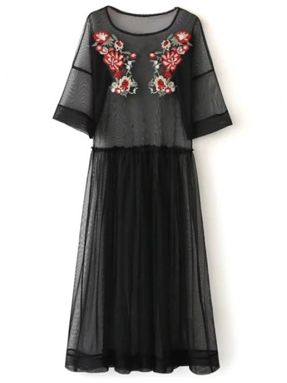 See Thru Tulle Embroidered Maxi Dress - BLACK L Mobile