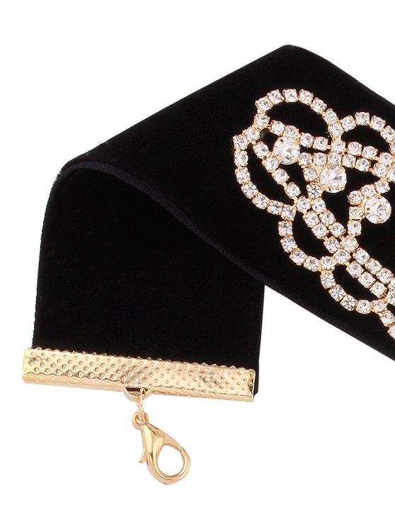 Rhinestone Floral Velvet Choker - GOLDEN  Mobile