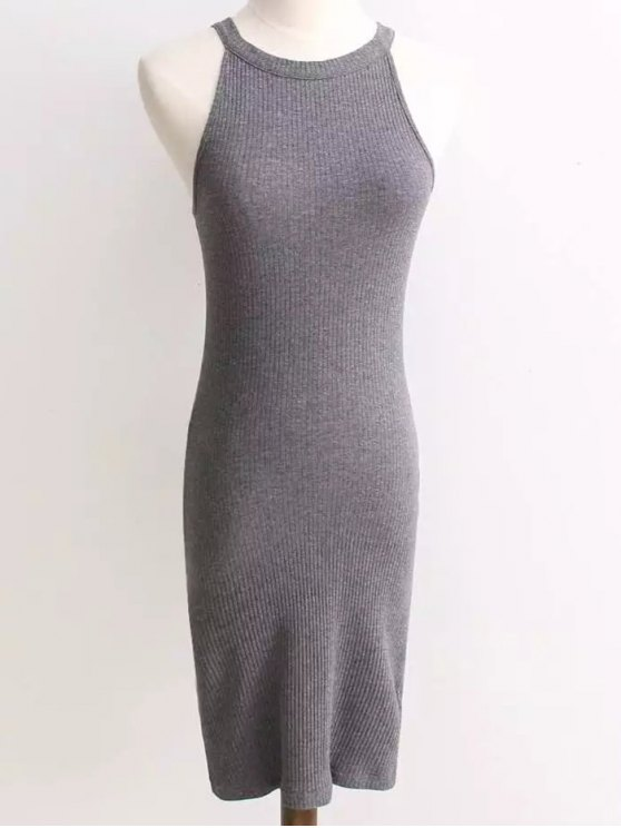 Ribbed Sleeveless Knitted Bodycon Dress - GRAY ONE SIZE Mobile