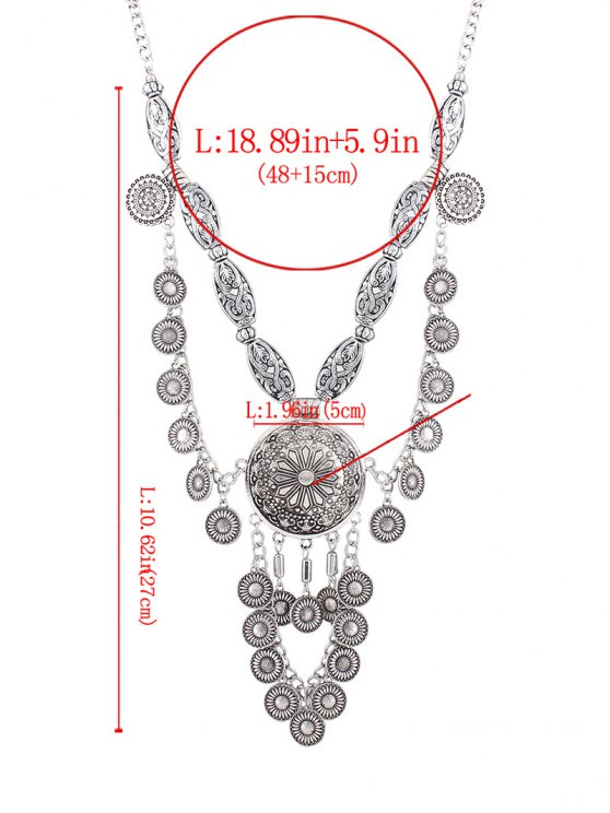 Layered Medallion Necklace - SILVER  Mobile