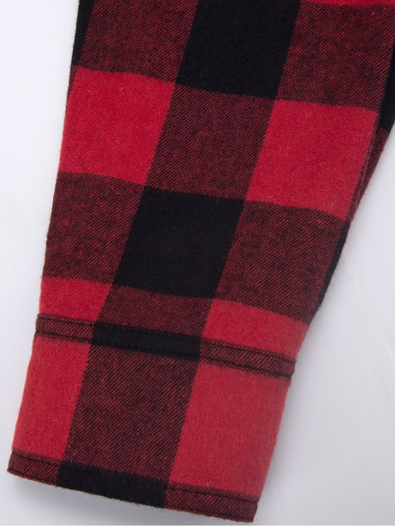 Tartan Shirt with Pocket - RED WITH BLACK S Mobile