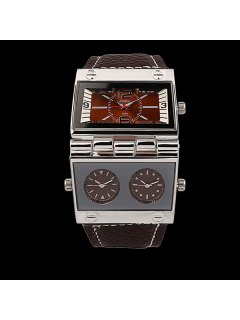Quartz Watch With PU Leather Watchband - Coffee