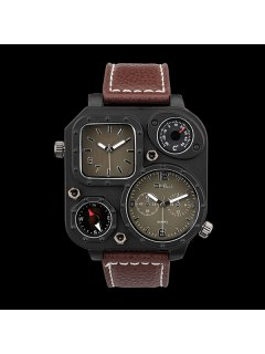 Analog Quartz Watch With Artificial Leather Watchband - Coffee