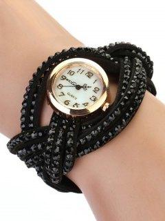 Rhinestone Number Twist Bracelet Watch - Black