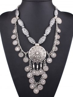 Layered Medallion Necklace - Silver