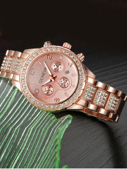 hot Rhinestoned Quartz Wrist Watch - ROSE GOLD  Mobile