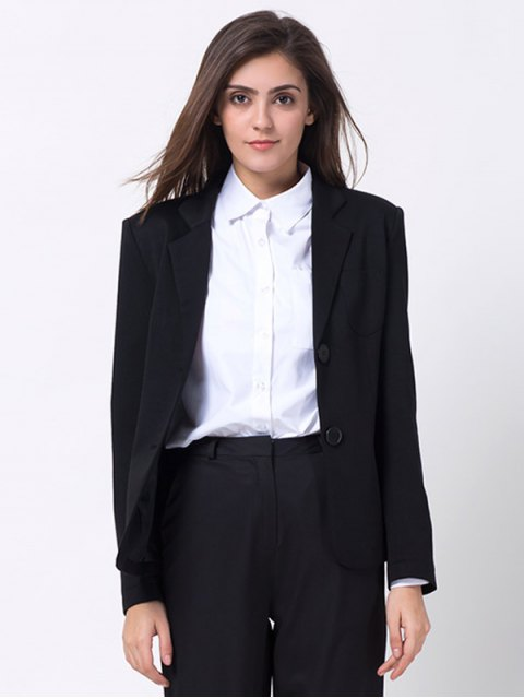 women Back Slit Lapel Collar Blazer - BLACK XL Mobile