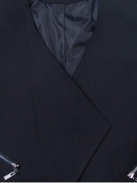 new Open Front Draped Zipper Blazer - BLACK XL Mobile