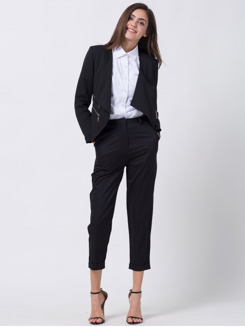outfit Open Front Draped Zipper Blazer - BLACK M Mobile
