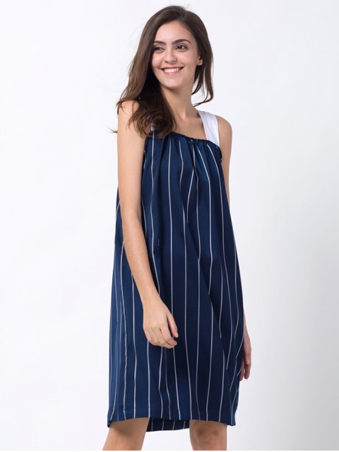 lady Striped Single-Breasted Tank Dress - BLUE M Mobile