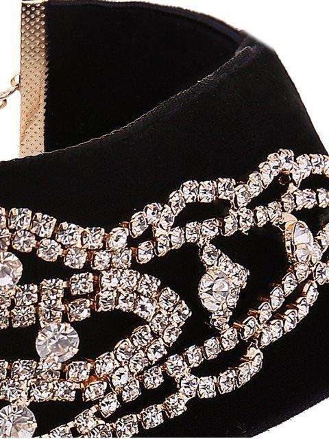 sale Rhinestone Velvet Fake Collar Necklace - GOLDEN  Mobile