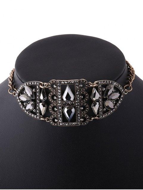 fashion Rhinestone Hollow Out Metal Choker - GOLDEN  Mobile