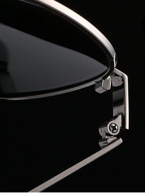 affordable Stripy Leg Metal Pilot Sunglasses - DEEP GRAY  Mobile
