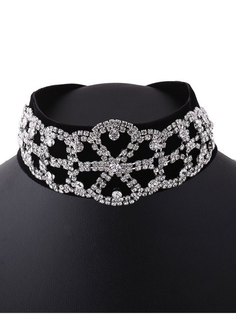 best Rhinestone Flannel Fake Collar Necklace - SILVER  Mobile