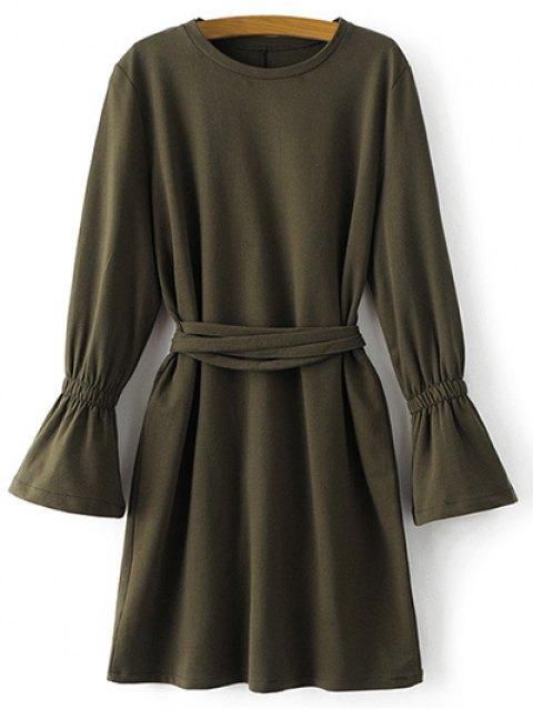 chic Bell Cuff Sleeve Tie Waist Dress - ARMY GREEN M Mobile