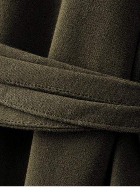 unique Bell Cuff Sleeve Tie Waist Dress - BLACK L Mobile
