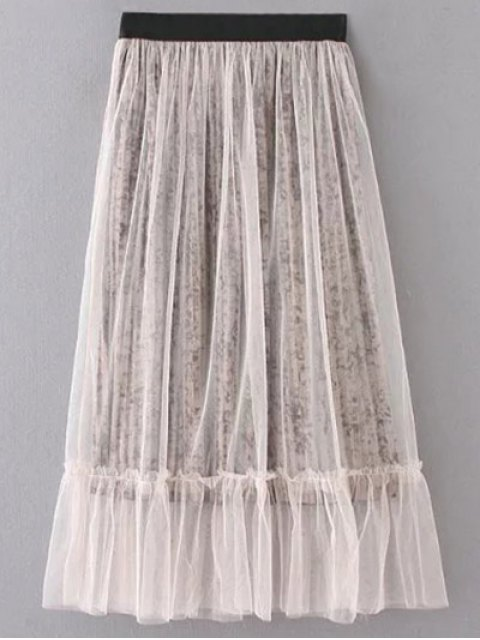 ladies Mesh A Line Tea Length Skirt - LIGHT KHAKI ONE SIZE Mobile